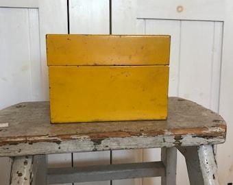 Vintage Ohio Art Co Yellow Metal Recipe Box / Made in USA