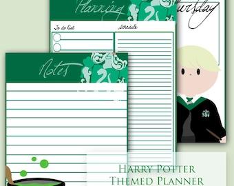 Harry Potter Planner, Harry Potter, Planner, Slytherin, Harry Potter Printable, HP, Printable | HP Slytherin Planner