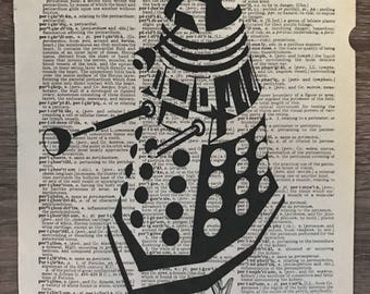 Dalek Doctor Who Inspired Vintage Dictionary Print, Doctor Who Gift, Sci Fi Gift, Sci Fi Wall Art, Dr. Who Print, Geek Gift, Geek Decor