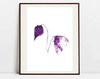 Flower Art Botanical Print , Leaf Watercolor Painting, Flower Purple Illustration, Digital Download Art Print