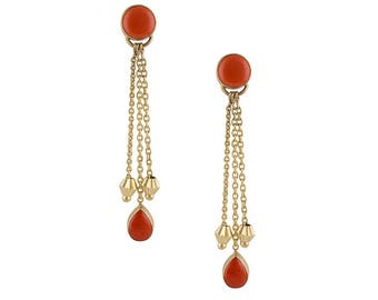 Coralita - handmade semi-precious red coral stone and brass earrings.  Free UK delivery.