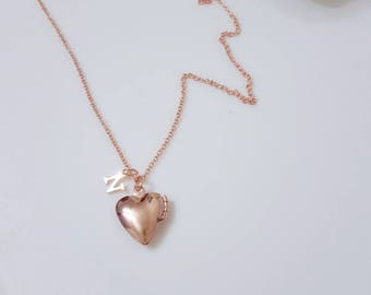Heart Locket Necklace, rose gold heart locket,initial locket, photo locket,heart initial rose gold necklace, perfect gift idea, holiday gift