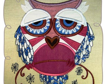 Grand Owl Applique Machine Embroidery Design Pattern-INSTANT DOWNLOAD
