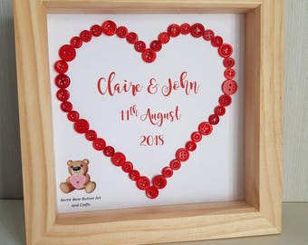 Framed Red heart button art with names and special date, wedding present, wedding anniversary gift, anniversary gift, Valentine's gift