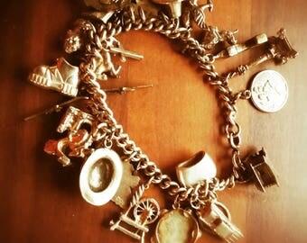 Vintage loaded Silver Charm Bracelet