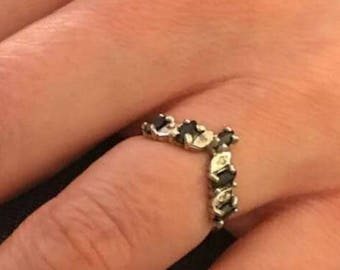 Sapphire and Diamond Eternity Ring, White gold sapphire eternity ring, Anniversary ring, Diamond Ring, Vintage Sapphire ring, September