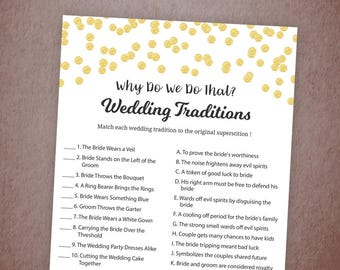 Why Do We Do That, Guess The Wedding Tradition Game, Gold Confetti Bridal Shower, Instant Download, Wedding Traditions Guessing Game, A001