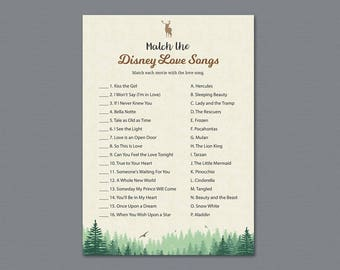 Woodsy Match the Disney Love Songs Game Printable, Trees Bridal Shower Games, Bachelorette Party, Wedding Shower, Romantic Quotes, A010