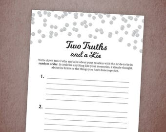 Two Truths and a Lie Game Printable, Silver Glitter Confetti Bridal Shower, Bachelorette Party Games, Wedding Shower Truth and Lie, A003