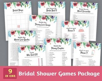 Fun Bridal Shower Games Package, Watercolor Floral, Wedding Shower, Flowers Instant Download, Game Pack, Unique Games Bundle Set, BSPKG A007
