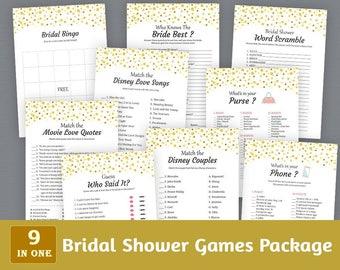 Bridal Shower Games Package, Gold Dots Confetti, Bridal Shower Activities Printable, Instant Download, Game Pack, Shower Bundle, BSPKG, A015