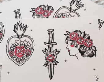 Hearts and daggers tattoo flash