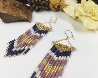 Long dangle earrings, boho chic, glass miyuki delica, women jewelry beads