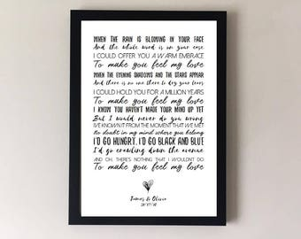 To make you feel my love, song lyrics print, adele, wedding song, first dance anniversary gifts, wedding gift gift for husband gift for wife