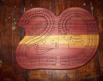 "Basic Single Wood Species ""29"" Laser-Engraved 3-Player Continuous Track Cribbage Board"