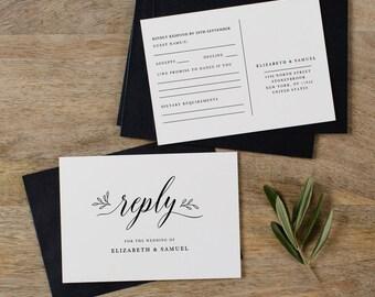 Postcard RSVP Template, Printable Wedding Postcard RSVP, Postcard Reply Cards, Post Card RSVP, Editable Rsvp Postcard Template - KPC04_103
