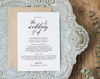 Wedding Programs Instant Download, Wedding Program Template, Printable Wedding Program, Editable Wedding Program Template - KPC04_201
