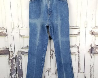 70s Chic Distressed Highwaisted Mom Jeans, Tapered Leg Skinny Leg Jeans S Small 24