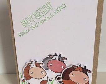 Handmade card - happy birthday from the whole herd