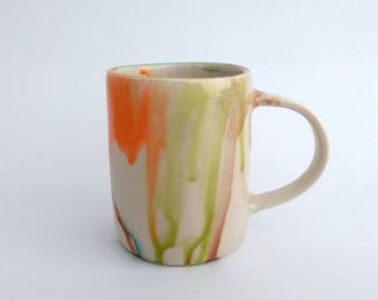 Ceramic mug, handmade, watercolor, colorful, contemporary, orange, blue, brown, green, coffee mug, hot chocolate, unique birthday gift