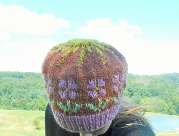 Hand Knit Wool Tam/Knitted Flower Hat/Fair Isle