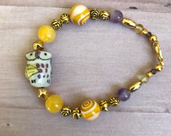 Owl bracelet, yellow bracelet, girl's bracelet, infant bracelet, toddler bracelet, purple bracelet, beaded bracelet, flower bracelet