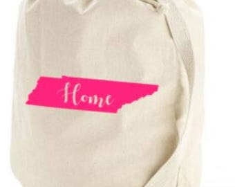 Canvas Laundry Tote with State or Name - College