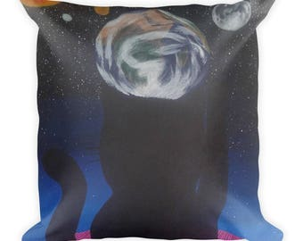 Cosmic Cat Arrives Square Pillow