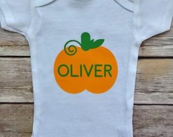 Custom Pumpkin Outfit, Fall Onesie, Pumpkin Outfit, Custom Pumpkin Onesie, Baby Boy Pumpkin, Halloween Shirt, Baby Shower Gift, Pumpkin Shir