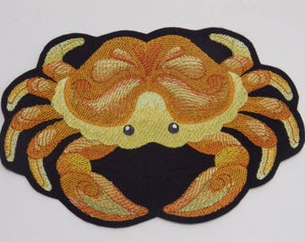 Caribbean Creatures Iron-on Patch. Embroidered Patch. Sew-On Patch Glew-on Patch Crab in watercolor