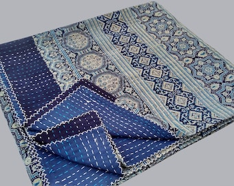 Traditional style Unique Kantha Quilt Handmade hand block print Saree ,throw,Bed cover Bedspread Ajrak Queen size,Twin size,King size quilt