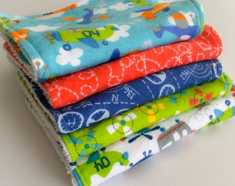 Burp Cloths - Baby Burp Cloths - Set of 5 Burp Cloths - Airplane Baby Burp Cloths - New Mum Essential - Baby Shower Gift - New Baby Gift