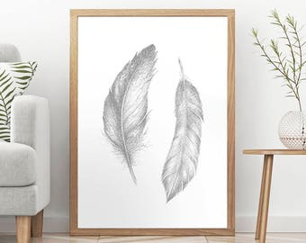 TWO FEATHERS PENCIL Drawing Print, Feather Light Gray Pencil Draw, Wall Art Gift for Men Women, Bedroom Decor, Archival Paper Giclee Print