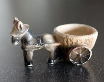 Vintage Donkey and Cart Egg Cup