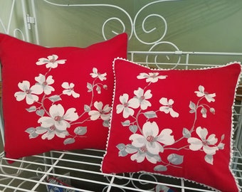 Vintage Wilendur Red Dogwood Pillow cover