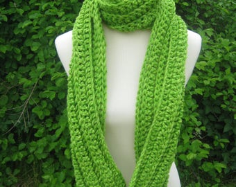 Crochet Scarf; Handmade; Lime Green