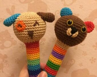 Crochet animal rattle for baby newborn, crochet beanbag maraca, baby shower gift, crochet rattle, animal rattle, baby rattle, newborn gift
