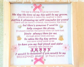 Personalised Bridesmaid Gift Frame, Wedding Gift, Will you be my Bridesmaid? Handmade Frame