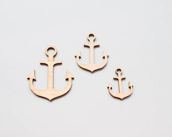 Little Anchor  - 3 Wooden pieces to decorate or make any type of crafts.