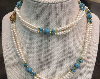 White and Blue Beaded Necklace