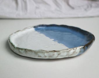 Blue & White rustic plate - Red earthenware clay finished with traditional blue and white glaze, Small plate, Side plate, Kitchenware.