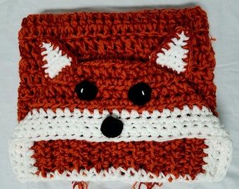 Crochet fox blanket, fox blanket, hooded blanket, red fox blanket, red fox