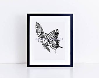 Butterfly Art Print/ Butterfly Illustration/Butterfly Decor/ Nordic Print//Modern Wall Art/Tree Illustration/Black and White Nature Print