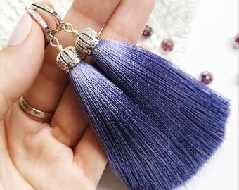 Silk Tassel Earrings, шелковые серьги-кисти