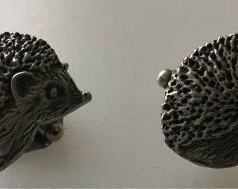 Hedgehog Handmade Pewter Cufflink Set Boxed