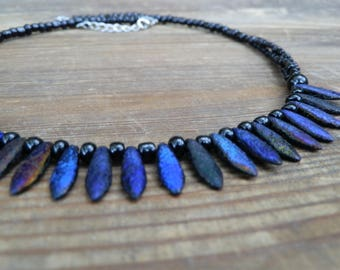 "Black necklace with original glass beads from ""CzechBeadsExclusive"""