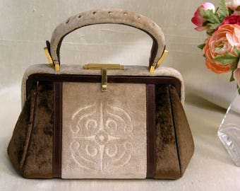 Roos Atkins Vintage Handbag / Made in Italy Exclusively for Roos Atkins / Leather and Suede Bag / c: 1940's Italian Small Purse