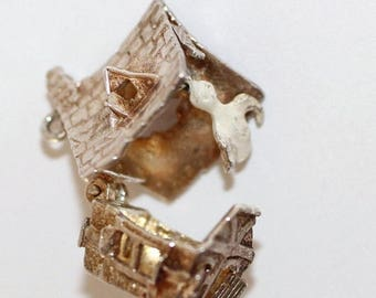 Rare Vintage Sterling Silver Charm NUVO Opening Haunted House With Ghost