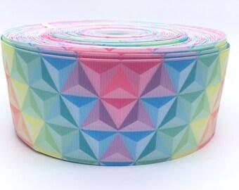 "Pastel Rainbow Triangles 3"" 3 Inch Width Grosgrain Ribbon per Meter"