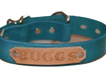 """1"""" Wide Turquoise Custom Personalized Leather K9/ Dog Collar With Free Name Tag (Med 11""""-14"""")"""